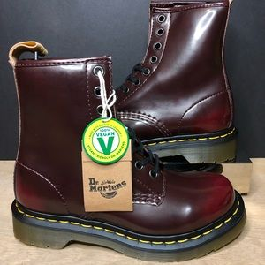 Dr. Martens 14585 Cherry Red Combat Boots Vegan